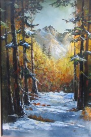 snow covered trail original painting by Tom Dooley