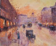 Along the Boulevard 1930 Original Acrylic on Canvas by Slobodan Paunovic