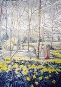 """""""Le Jardin des Ion Quilles an Moulin d'Athis"""" original artwork by H. Claude Pissaro."""
