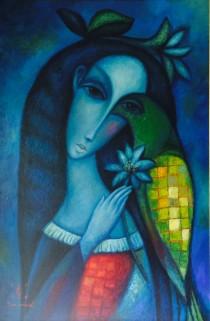 """Night Bird"" Original Oil on Canvas by Sergey Smirnov"