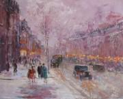 On The Boulevard 1930 An original acrylic on canvas by Slobodan Paunovic