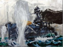 """Dreadnaught"" Original Hand-Worked Mixed Media on Aluminum by Michael Bryan"