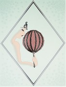 """""""Rose Fan"""" Estate-Signed Embossed Serigraph With Foil Stamping by Erte"""