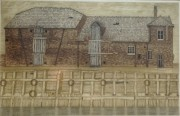 """""""Waterfront, Kings Lynn"""" Color Aquatint with Etching by Valerie Thornton"""
