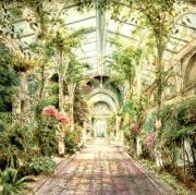 """Conservatory""  Lithograph by Susan Sahall (Susan B. Hall)"