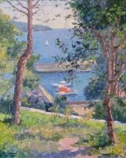 """Une Trouee Sur La Mediterranee"" Original Oil on Canvas by Pierre Bittar"