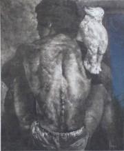 """""""Man & Bird"""" Monoprint by Dario Campanile"""