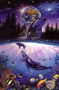"""Whale Star"""" Mixed Media Graphic on Paper by Christian Riese Lassen"""