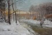 """Winter Motif With River"" Original Acrylic on Canvas by Slobodan Paunovic"