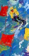 """Winter Olympics, Skiing Lake Placid 1980 Serigraph by LeRoy Neiman"