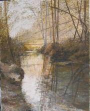 """By The River"" Original Acrylic on Canvas by Slobodan Paunovic"