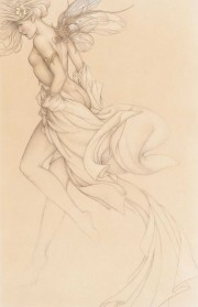 """Startled Sky Nymph"" Drawing Edtion on Paper by Michael Parkes"