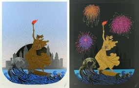 """""""Statue of Liberty - Day & Night Suite of 2 Embossed Serigraphs with Foil Stamping by Erte"""