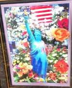 """Land of the Free, Home of the Brave II"" Unique Mixed-Media Acrylic on Lithograph by Peter Max"