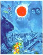 """""""The Sun Over Paris"""" Estate-Signed Lithograph by Marc Chagall"""