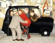 """Taxi"" Hand-Signed Lithograph by Beryl Cook"