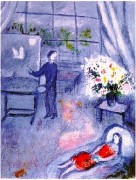 """""""Le Artiste et Son Modele"""" Plate-Signed Lithograph by Marc Chagall"""