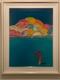 """Umbrella Man with Rainbow Sky"" 1991 lithograph by Peter Max"