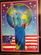 """Peace On Earth III"" Mixed Media Unique Acrylic on Lithograph by Peter Max"