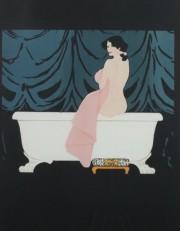 """Diane Au Bain""  or Woman in Tub Silkscreen by Rene Gruau"