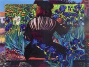 """""""Painting Irises"""" Serigraph by Dr. T. F. Chen"""