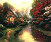 """""""A Quiet Evening"""" Serigraph/Canvas by Thomas Kinkade"""