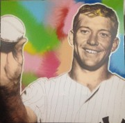 """""""Mick"""" (Mickey Mantle) Mixed Media on Canvas by Steve Kaufman"""