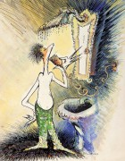 """""""Self-Portrait of a Young Man Shaving"""" Serigraph on Canvas by Dr. Seuss"""