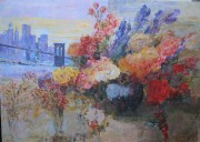 New York and Flowers original acrylic on canvas by Slobodan Paunovic
