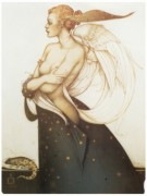 """""""The Golden Salamander"""" Hand-Pulled Stone Lithograph by Michael Parkes"""