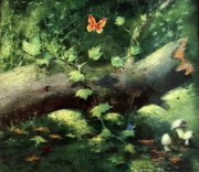"""Butterflies in the Forest"" Original Enamel on Copper by Max Karp"