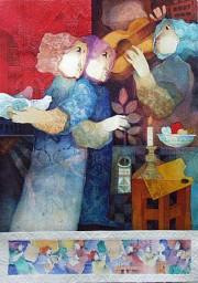 """""""Les Muses de l'artista"""" Lithograph by Alvar Sunol"""