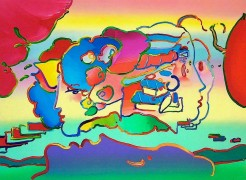 """Three Faces"" 1991 lithograph by Peter Max"