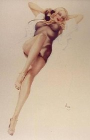 """""""First Love"""" Deluxe Lithograph on Odalisque by Alberto Vargas"""