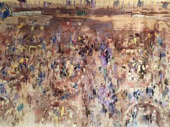 """New York Stock Exchange"" Silk Tapestry by LeRoy Neiman"