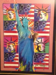 """God Bless America"" with 5 Liberties Unique Mixed Media Acrylic on Color Lithograph by Peter Max"