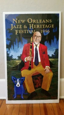 """New Orleans Jazz  & Heritage Festival 1996 Poster"" by Blue Dog Artist, George Rodrigue"