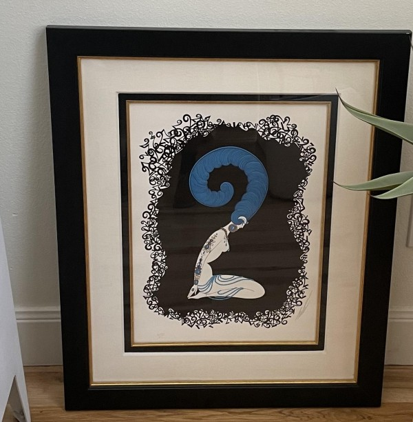 """""""Numeral 2"""" an Emboxxed Serigraph from the Erte Numerals Suite"""
