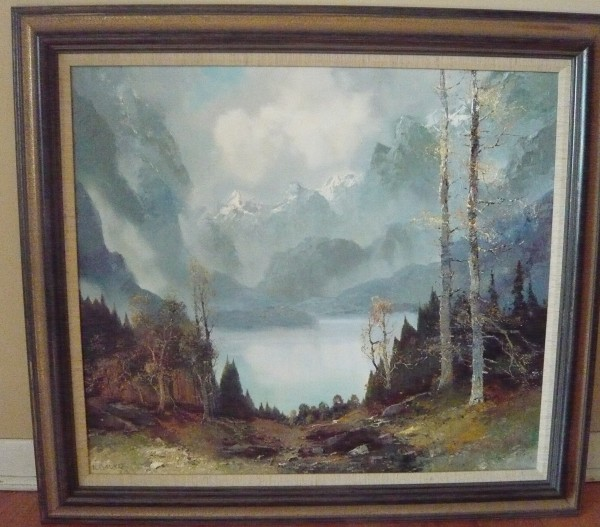 Mountain Lake Original Oil on Canvas by Willi Bauer