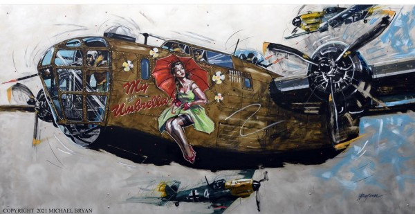 """""""My (flack) Umbrella"""" B-24 Liberator, Limited Edition Giclee on Paper, Canvas or Aluminum by Michael Bryan"""