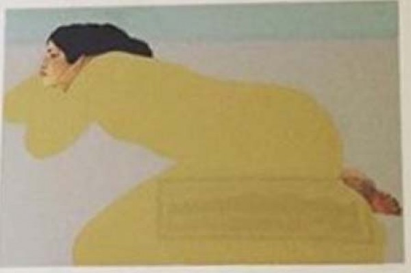 """Yellow Dress"" serigraph by Pegge Hopper"