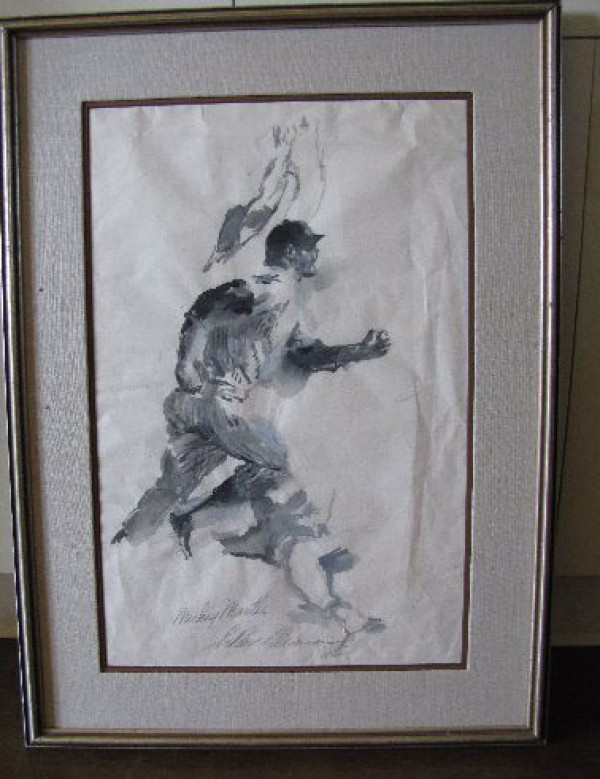 """""""Mickey Mantle"""" Original Ink/Rice Paper by LeRoy Neiman"""