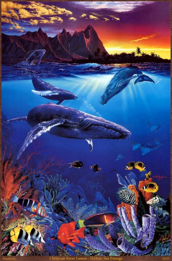 """Hawaiian Sea Passage "" Mixed Media Lassengraph by Christian Riese Lassen"