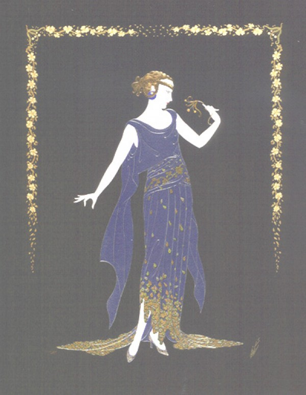 """""""Flower Petal Gown"""" Embossed Serigraph with Foil Stamping by Erte"""