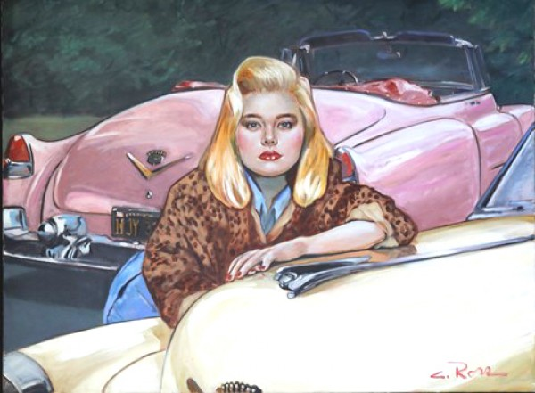 """""""Pink Cadillac"""" Original Oil on Canvas by Colleen Ross"""